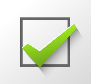 Green checkmark in a checkbox.