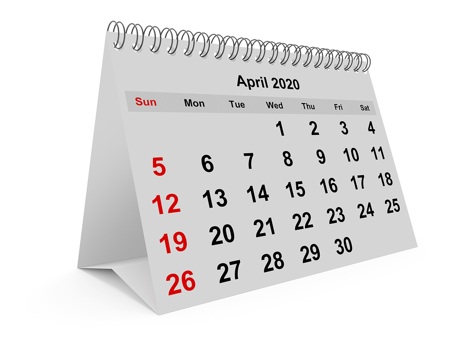 A standing April calendar signifying home inspection month