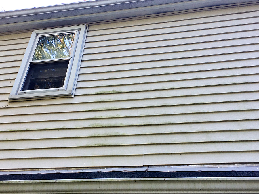 Wavy vinyl siding on the side of a house.